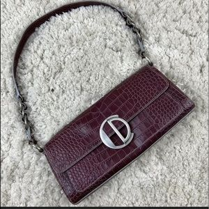 Charles David Purple Croco Clutch Purse Leather